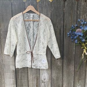 Old Navy Sheer Cream Lace Light Cardigan Size M